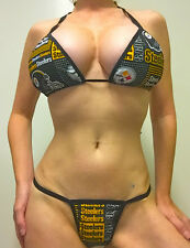 NEW NFL PITTSBURGH STEELERS LINGERIE/THONG BIKINI SET A/B TOP XS/SM THONG LINED
