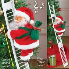 Electric Climbing Ladder Santa Claus Christmas Xmas Music Figurine Party Decor