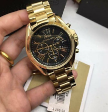 Michael Kors BradshawOversized Chronograph Watch Gold-tone Black Dial