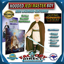 Deluxe Hooded Jedi Master Boy Star Wars Kid Luke Skywalker Costume Lightsaber