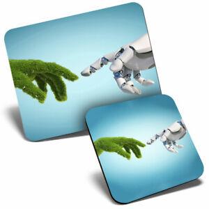 Mouse Mat & Coaster Set - Nature Technology Eco Green  #2394