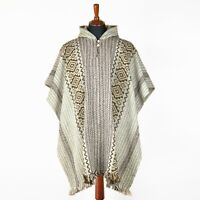 Llama Wool Mens Unisex South American Poncho Cape Coat Jacket beige striped