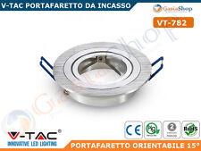 V-TAC VT-782RD PORTAFARETTO ORIENTABILE ROTONDO INCASSO LAMPADE GU10 MR16 -3600-
