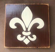 "ONE 5x5"" French Country Sign Paris Fleur de lis Plaque Chic Shabby Rustic Wood"
