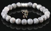 Larvikit Armband Bracelet Perlenarmband Buddha grau matt 8mm