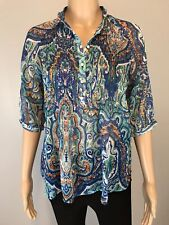 Women's PETITE Lauren Ralph Lauren Blue Paisley Print Blouse Top SZ PS