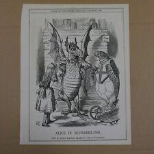 """7x10"""" punch cartoon 1880 ALICE IN BLUNDERLAND wonderland"""
