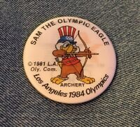 Archery 1984 Olympic Pinback Button Pin ~ Holographic Hologram ~ Sam the Eagle