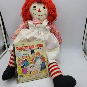 Vintage Raggedy Ann Handmade Pink Dress Doll Golden Book Raggedy Ann Andy  Lot 2