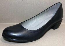 ECCO Women Shoes Sz EUR 37/US 6 Black Leather Heel Pumps Comfort Round Toe NWOB