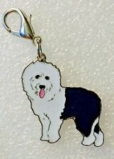 Oes Old English Sheepdog Dog Pup Bag Purse Charm Dangle Zipper Pull Jewelry