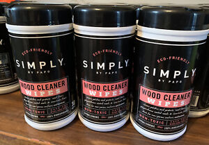 3 Canisters Simply Wood furniture Cleaning Wipes Non-Toxic Eco Friendly