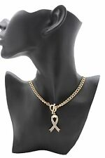 New Women Gold Metal Chain Short Fashion Necklace Jewelry Breast Cancer Pendant