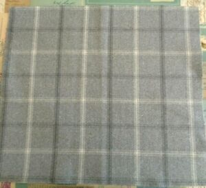 40cm square ISLES LEWIS WOOL TOUCH CHECK Grey Cream Check FABRIC