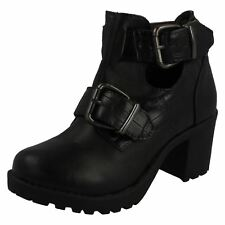 Girls Red Tag Block Heel Ankle Boots