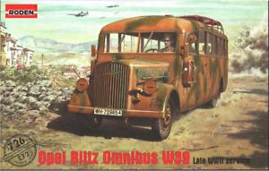 Roden 726 - Opel Blitz Omnibus W39 WWII  - 1/72 scale model airplane kit 102 mm