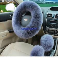 3Pcs Long Plush Fuzzy Steering Wheel Cover Blue Wool Handbrake Car Accessory