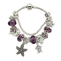 Elegant Purple Crystal Diamond Bead With Starfish Turtle Style Bangle Bracelet