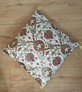 Off-white Big Floor Cushion Covers, Floral, Zippered, Boho Rustic Country Decor