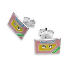 Plata Esterlina Y Cristal Cinta de casete Aretes-Retro Kitsch En Caja