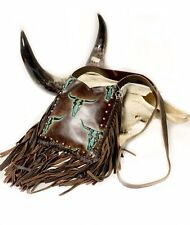 Raviani Cross-body Fringe bag in Brown & Turquoise Longhorn Cowhide & Studs