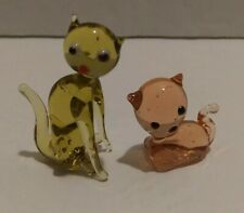 "Pair Of Vintage Miniature Glass Cats Kittens Kitties Pink Yellow 1""-1.75"""