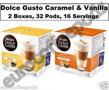 Dolce Gusto Cápsulas De Café Latte Caramelo & café con leche de vainilla, 2 Cajas, 32 Cápsulas