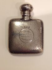 Arts & Crafts Silver Hip Flask by Saunders and Shepherd Birmingham