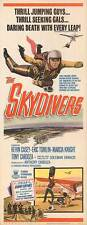 THE SKYDIVERS original 1963 PARACHUTING 14x36 insert movie poster SKY DIVING