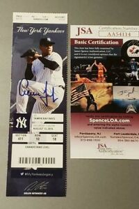 AARON JUDGE SIGNED MLB DEBUT 1ST HR 1ST HIT TICKET STUB JSA COA 8/13/16