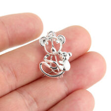 5X Silver Plated Mom&Baby Bear Pearl Beads Cage Locket Pendant For DIY Necklace