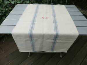 "Handwoven Grain Sack Feed Sack Handwoven Linen Blue Stripes 25 "" by 44 "" US$69"