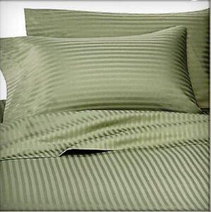Full Bed Sheet Set Monterey Dobby Stripe Collection Microfiber Color Sage Green