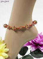 Gold Fußkettchen Fußkette Perlen Sommer Hippie Boho Rot 27 cm Glass Jewels #K014