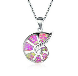 Fashion Lady Silver Snails Pink Simulated Opal Pendant Necklace Wedding Jewelry