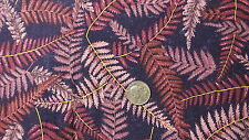 Vintage Cotton Fabric FUCHSIA PINK FERN LEAVES ON PURPLE Corsini 1 Yd/44""