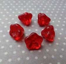 50 Red Glass Flower Beads Small 8x6mm