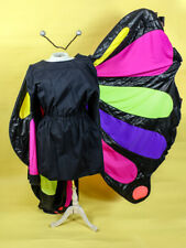 Butterfly Costume 4 Pc 2 In One Black Multi Jacket Or Dress Wings & Antenna