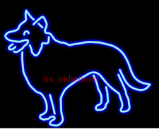 "New Custom Border Collie Dog Lamp Bar Real Glass Neon Light Sign 20""x16"""