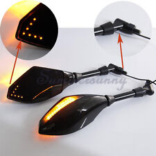 Front Back LED Turn Signals Indicator Rearview Mirror For Motorcycle 8MM 10MM US
