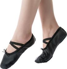 Nexete Leather Ballet Shoes Slippers Split Sole Flats For Toddler Girl Boy Kid