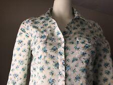 Buffalo David Bitton White Floral Button Front Shirt SZ Med Womens Long Sleeve