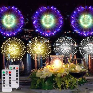 LED Firework Fairy String Lights Starburst Hanging Outdoor Garden Christmas Tree