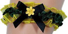 Strumpfband Braut gelb schwarz dunkelgrün Blümchen Schleifen Hochzeit Kostüm