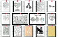 Personalised City Map Prints Towns Home Wall Decor Art Modern World Coordinates