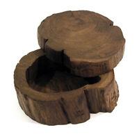 Carved Culture Thai Dark Wooden Log Box with Sliding Lid Trinket Jewellery