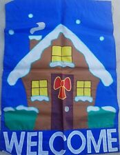 VINTAGE 1990'S WINTER WELCOME CHRISTMAS GINGERBREAD HOUSE BANNER FLAG 28X40 NEW