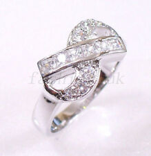 Dollar Money Ring White Gold Plated Clear Simulated Diamond Lucky Charm From UK