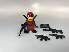 Custom Lego Print Deadpool DUCK SDCC COMIC CON minifigure figure + weapons lot