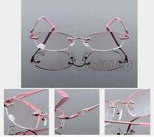 Eye Reader Pink Lens Rimless Reading Glasses Vintage Eyeglasses +1.00~+4.00